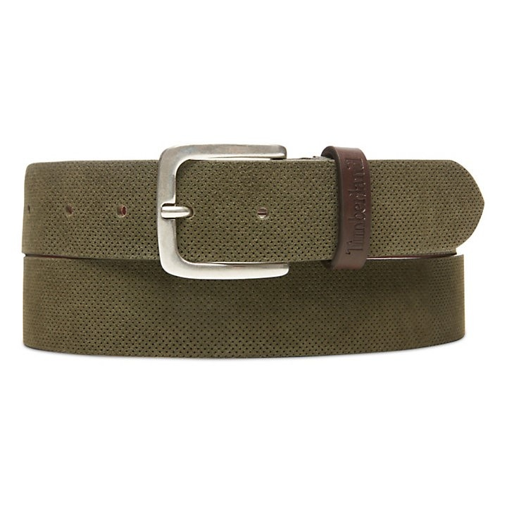 Timberland perforated suede green belt.jpg